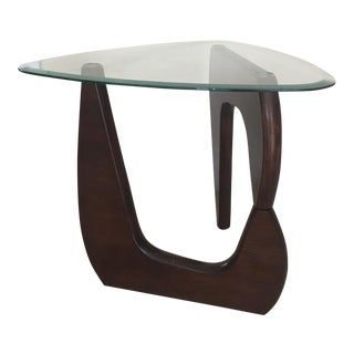 Mid-Century Modern Wood & Glass Side Table
