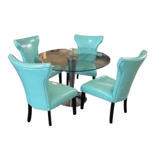 Retro Turquoise Dining Set with Nailhead Trim