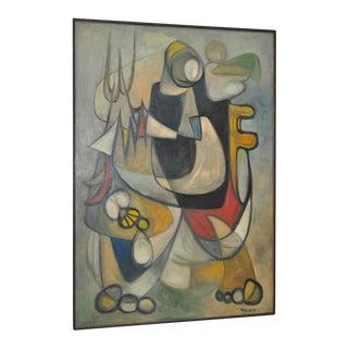 Mid Modern Surreal Abstract Oil Painting by Mario Marigonda c.1963