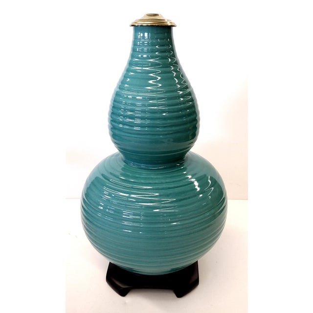 Transitional Turquoise Ribbed Custom Lamp Base - Image 9 of 11
