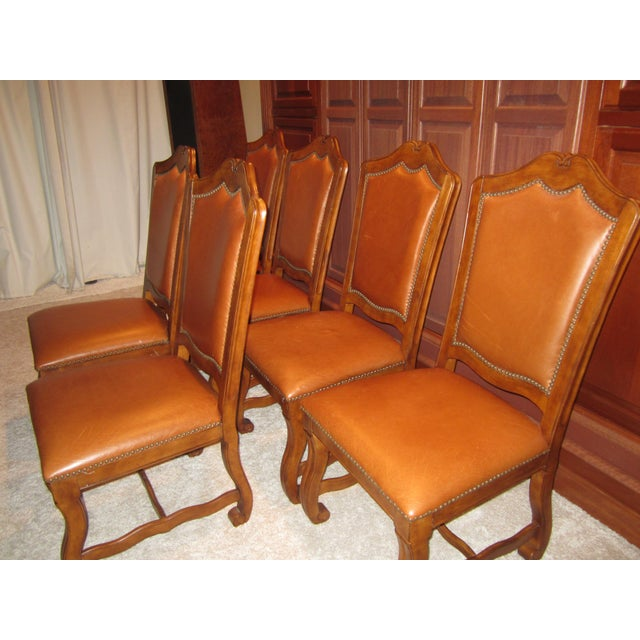 Stanley Leather Dining Chairs - Set of 6 - Image 5 of 11