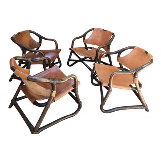 Swedish Leather & Cane Accent Chairs - Set of 4