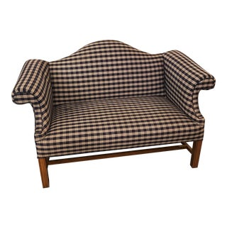 Blue & White Plaid Camel-Back Settee. Traditional Country Style.