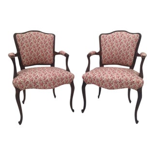 Satin Pink French Arm Chairs - A Pair