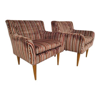 Vintage Jens Risom Styled Upholstered Chairs - A Pair