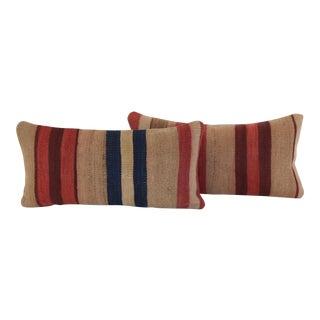 Striped Turkish Kilim Pillows- A Pair