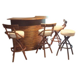 Mid-Century Rattan Tiki Bar & Stools - Set of 4
