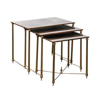 Set of Three Italian Maison Jansen Style 1950s Brass and Mirror Nesting Tables