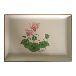 Vintage Asian Flower Lacquered Tray