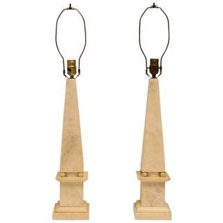 Mid-Century Italian Marble Obelisk Table Lamps