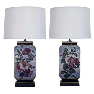 Fine Pair of French Polychromed Ceramic Lamps, Signed 'L. Ernie'