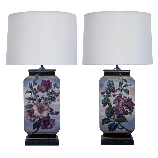 Image of Fine Pair of French Polychromed Ceramic Lamps, Signed 'L. Ernie'