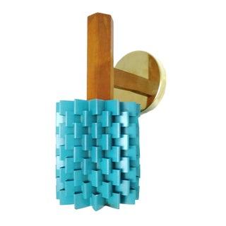 Raymor Mid-Century Brass & Blue Enamel Sconce