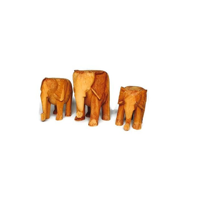 Vintage Solid Wood Carved Elephant Stands - 3 - Image 6 of 7
