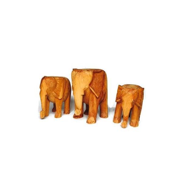 Image of Vintage Solid Wood Carved Elephant Stands - 3