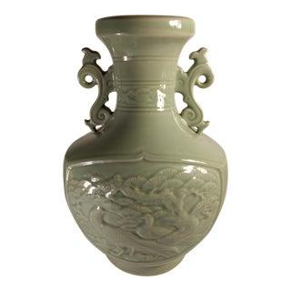 Chinese Crane & Bonsai Celadon Double Handle Vase