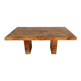 Spectacular Custom-Made Oyster Burl Wood Dining Table circa 1970s