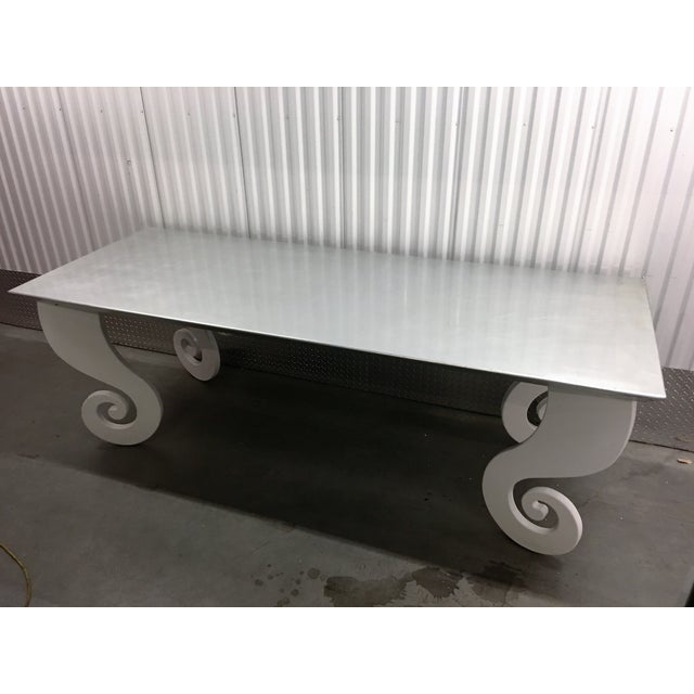 Silver lacquer pinwheel legged hall table chairish for 0co om cca 9 source table