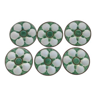 Majolica French Oyster Plates - Set of 6