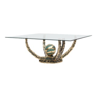 """Sculptural Bronze """"Octo"""" Coffee Table by Henry Fernandez, France, 1972"""