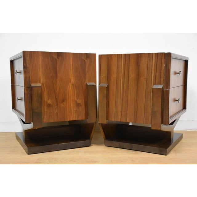 Mid-Century Brutalist Walnut Nightstands - A Pair - Image 5 of 11