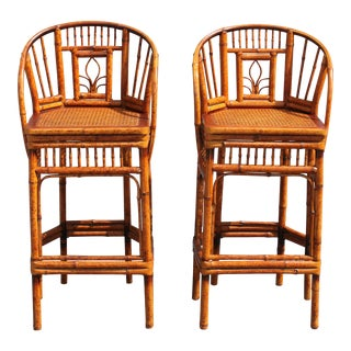 Mid-Century Detailed Bamboo Bar Stools - A Pair