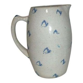 19th Century Spongeware Pottery Water Pitcher