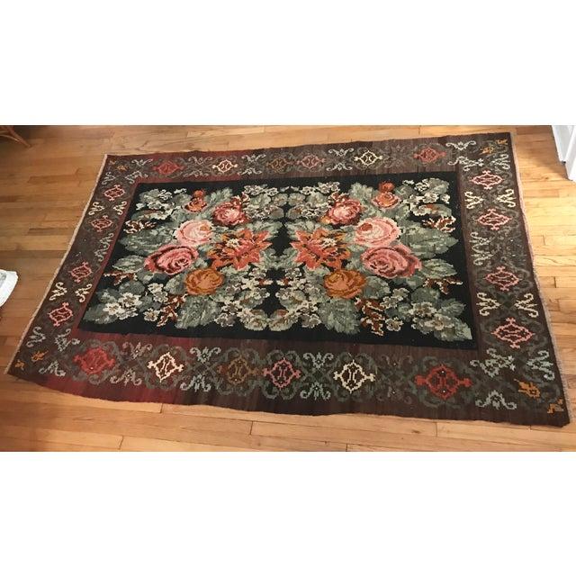 Vintage Effect Rug: Vintage Romanian Floral Flat Weave Wool Rug