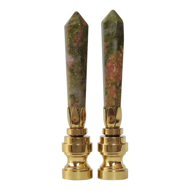 Coral & Jade Obelisk Gemstone Finials - A Pair - Image 1 of 3