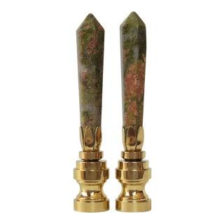 Coral & Jade Obelisk Gemstone Finials - A Pair