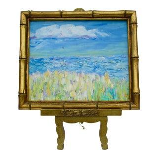 Framed Coastal Landscape Painting & Easel