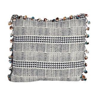Block-Print Arrow & PomPom Fringe Pillow