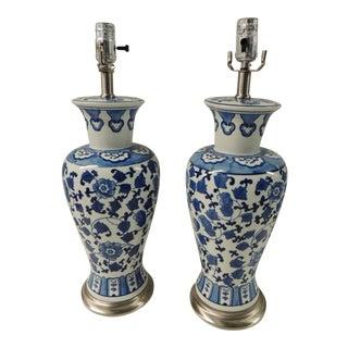 Vintage Blue & White Ceramic Lamps - Pair