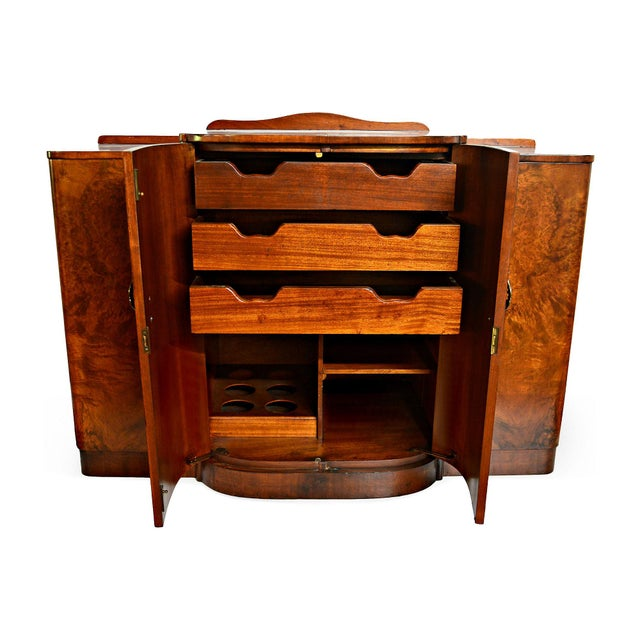 French Art Deco Burl Walnut Veneer Bar/Buffet - Image 4 of 8