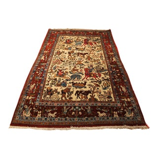Authentic Antique Persian Qum Hunting Scene Rug - 4′5″ × 8′