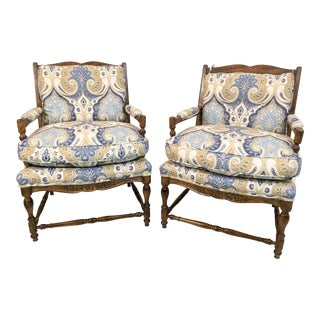 Antique French Country Arm Chairs - a Pair