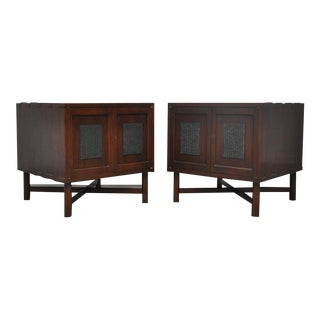 Rare Chinese Block Side Cabinet Chests by Edward Wormley for Dunbar