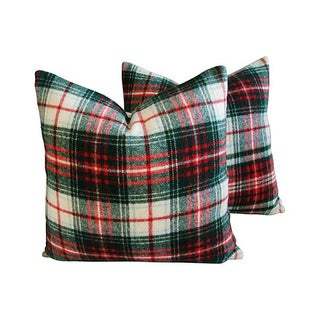 Custom Scottish Wool Plaid Pillows - Pair