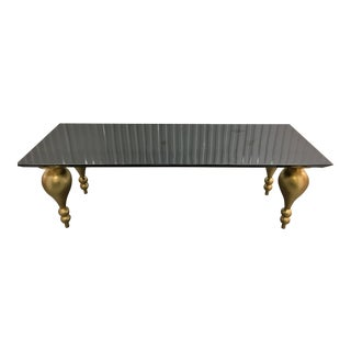 Black Lacquer Hall Table With Gold Legs