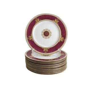 Wedgwood Porcelain Columbia Raised Gilt & Powder Red Dinner Plates - Set of 12