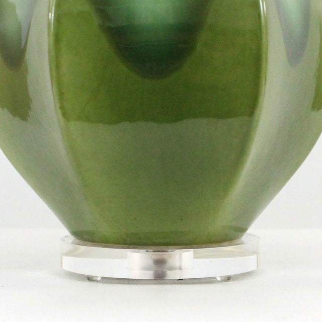 Image of Hollywood Regency Green Pottery & Lucite Lamp