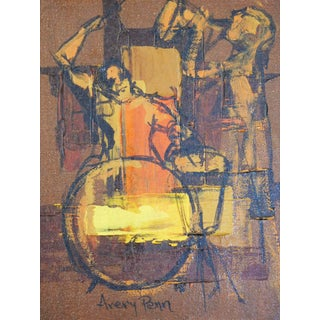 Musicians Oil Painting, Drummer and Singer by Aver