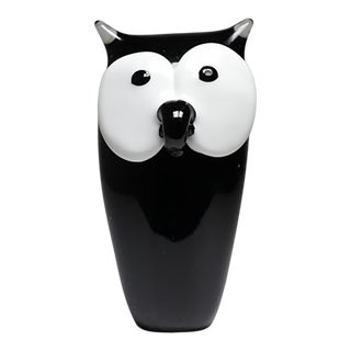 Black and White Glass Owl