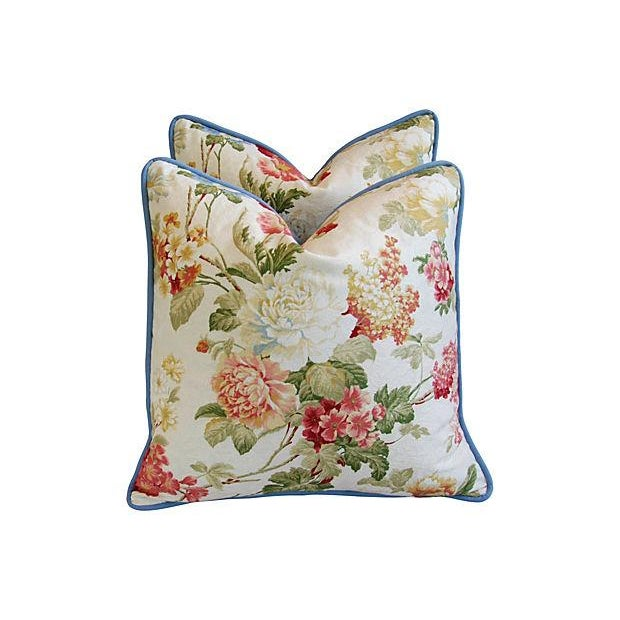 Designer English Jacquard Floral Pillows - Pair - Image 3 of 7