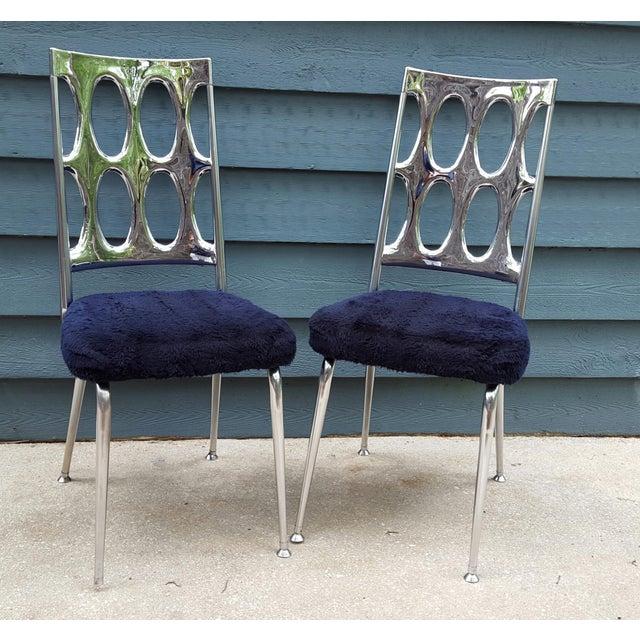 Chromcraft Chrome Amp Navy Dining Chairs A Pair Chairish