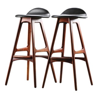 Rosewood & Leather Bar Stool by Erik Buch - A Pair