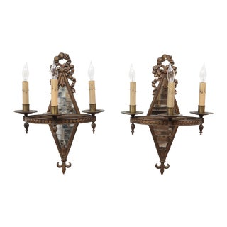 Art Nouveau Mirrored Sconces - A Pair