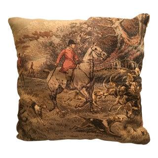 Antique Hunt Scene Taphestry Pillow