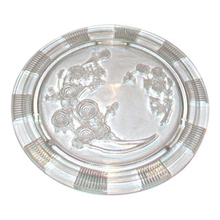 1940's Glass Cake Plate With Roses