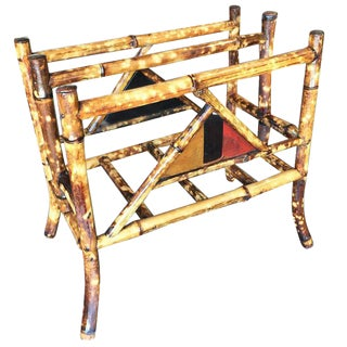 Tiger Bamboo Magazine Rack with Divider